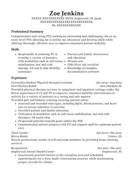 Internship Student Physical therapist assistan resume sample Florida