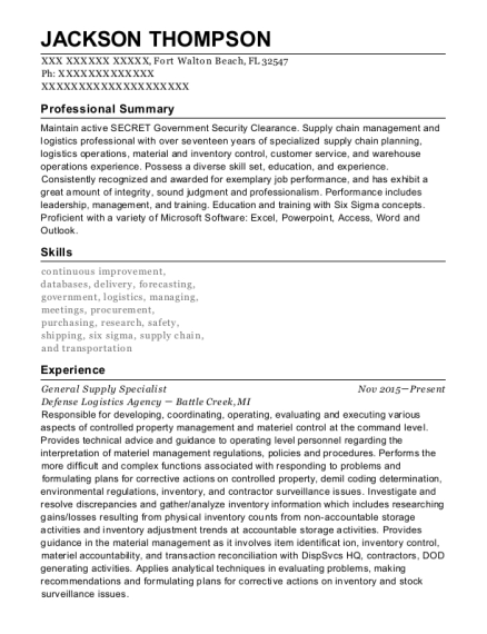 General Supply Specialist resume format Florida