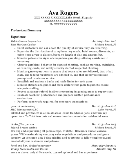 Table Games Supervisor resume sample Florida