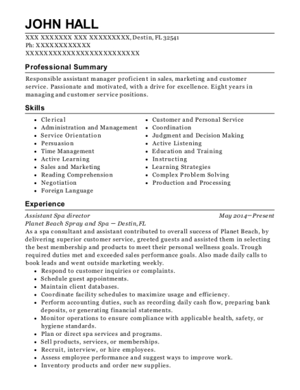 Assistant spa director resume best admission essay ghostwriters for hire ca