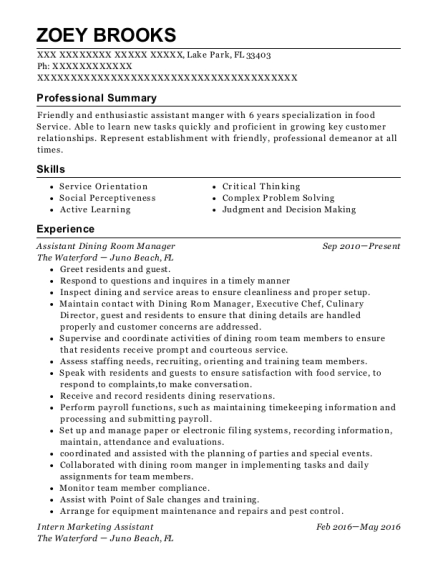 Assistant Dining Room Manager resume sample Florida