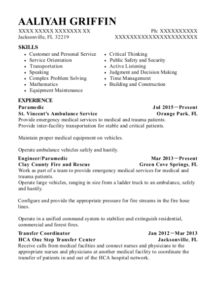 Paramedic resume example Florida