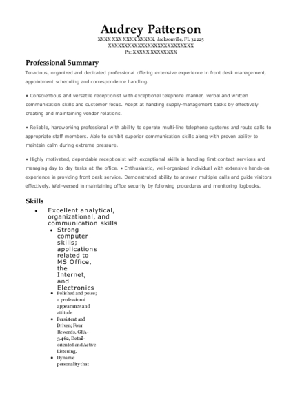 Receptionist Internship resume sample Florida