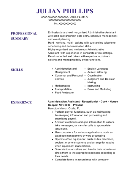 Administration Assistant Receptionist Cook House Keeper resume format Florida