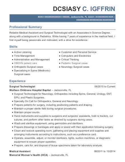 Surgical Technologist resume format Florida