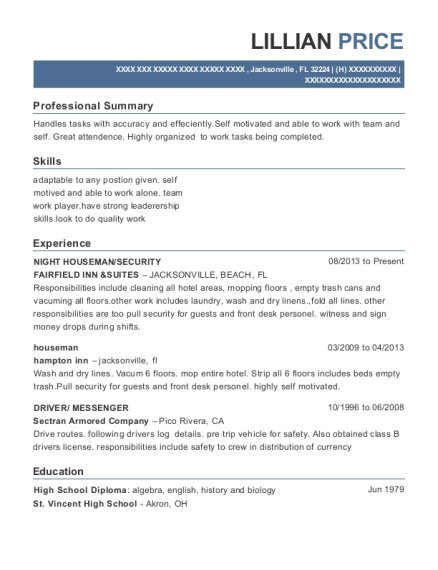 NIGHT HOUSEMAN resume example Florida