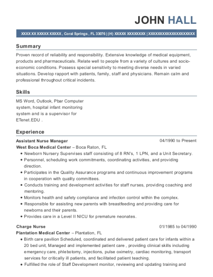 Assistant Nurse Manager resume example Florida