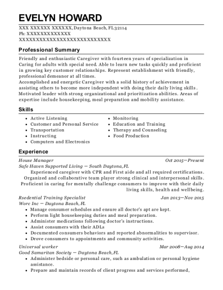 House Manager resume format Florida