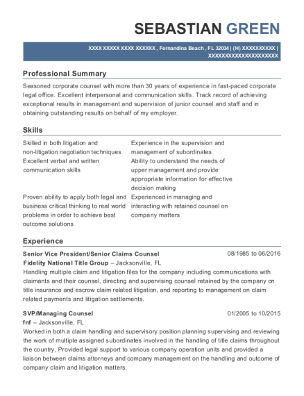 Senior Vice President resume sample Florida