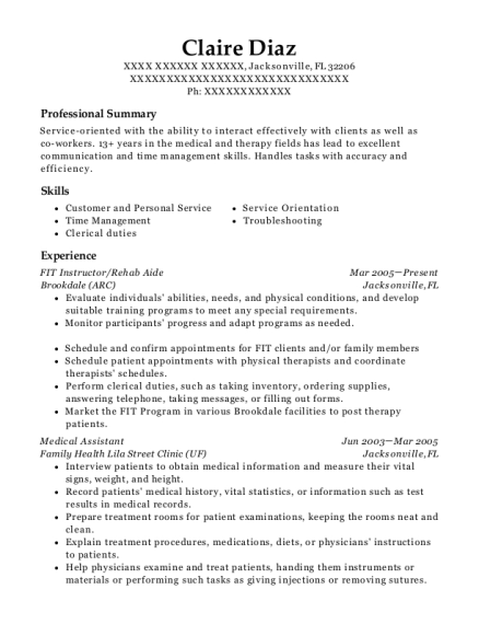 FIT Instructor resume template Florida