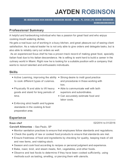 Sous Chef resume template Florida
