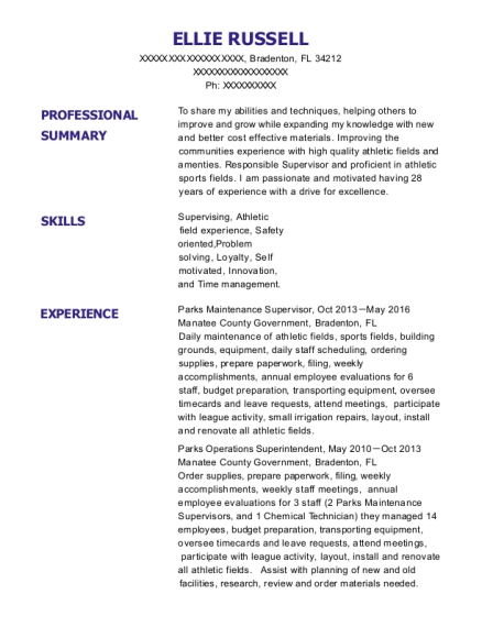 Parks Maintenance Supervisor resume template Florida