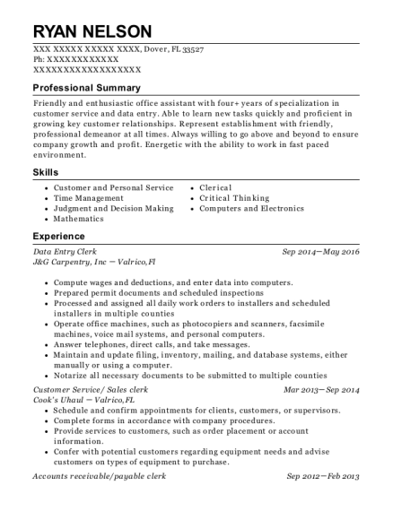 Data Entry Clerk resume sample Florida
