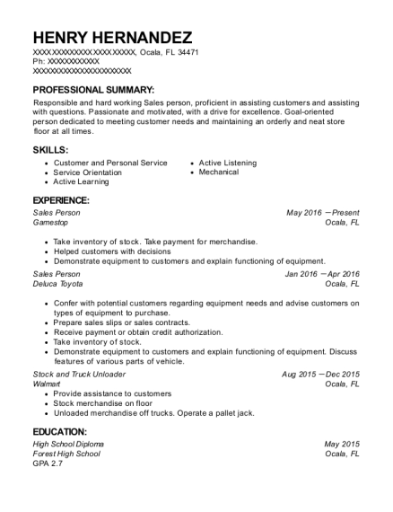 Sales Person resume format Florida