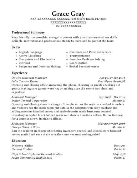 On site assistant manager resume sample Florida