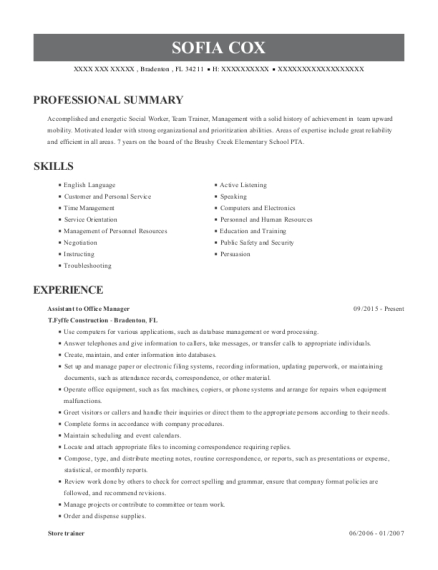 Assistant to Office Manager resume template Florida