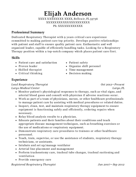 Lead Respiratory Therapist resume format Florida