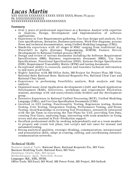 Business Analyst resume format Florida