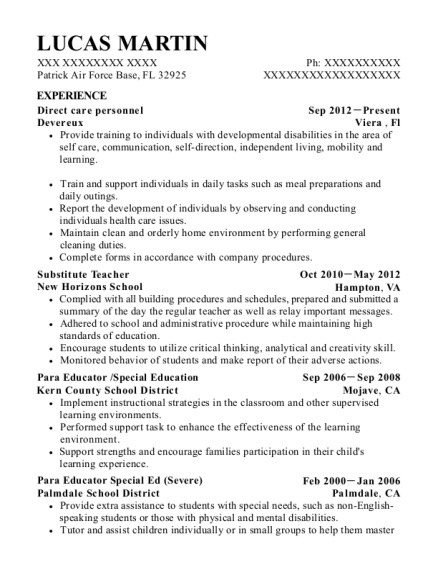 Direct care personnel resume format Florida