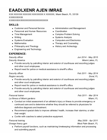 Personal Trainer resume template Florida