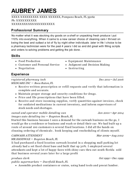 registered pharmacy tech resume format Florida