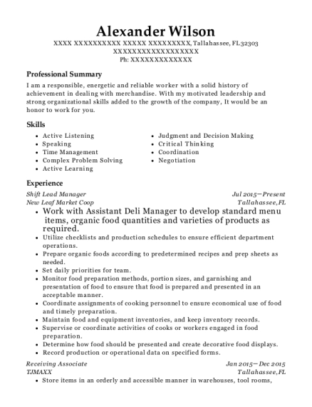 Shift Lead Manager resume example Florida