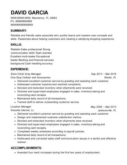 Store Clerk resume sample Florida