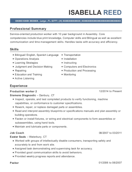 Production worker 2 resume example Florida