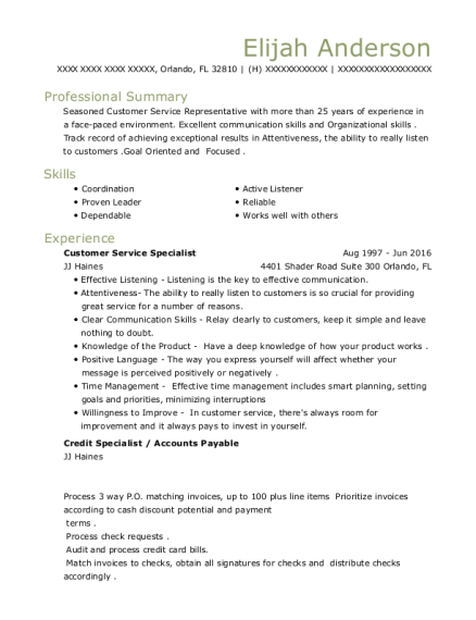 Customer Service Specialist resume template Florida