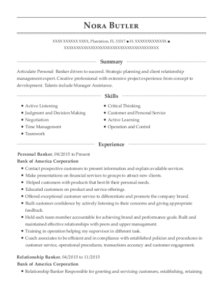 Personal Banker resume sample Florida