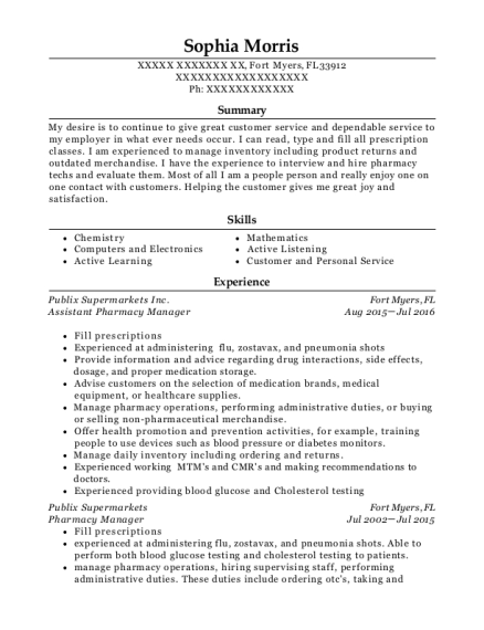 Assistant Pharmacy Manager resume sample Florida