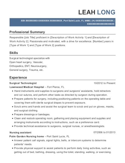 Surgical Technologist resume sample Florida