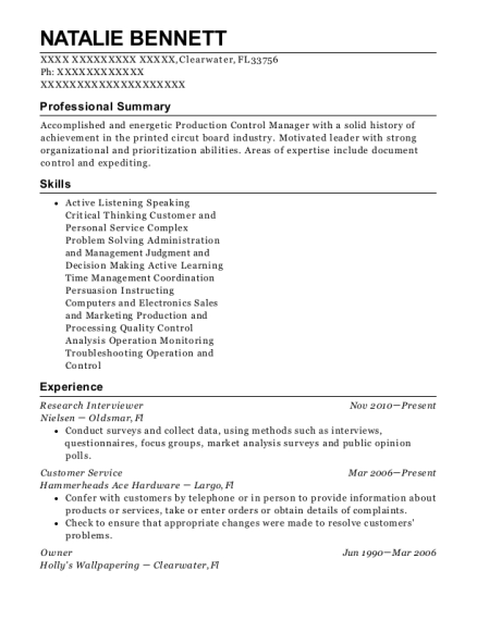 Research Interviewer resume example Florida