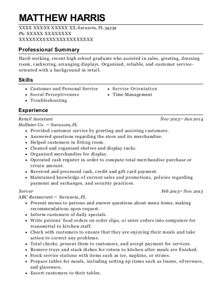 Retail Assistant resume example Florida