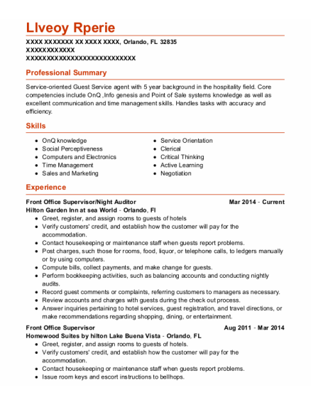 Front Office Supervisor resume template Florida
