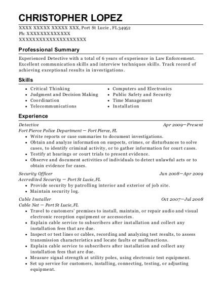 Detective resume template Florida