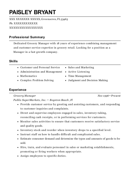 Grocery Manager resume example Florida