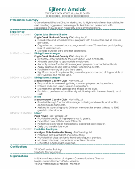 Dining Room Manager resume template Florida