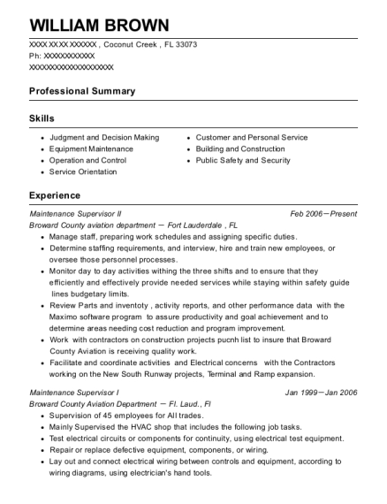 Maintenance Supervisor II resume format Florida