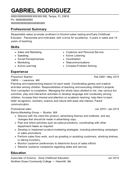 Preschool Teacher resume example Florida