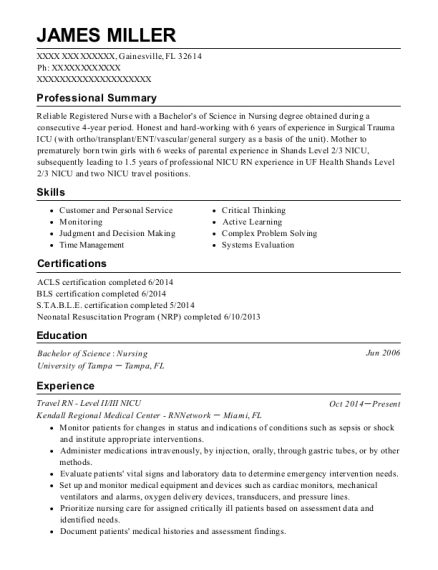 Travel RN Level II resume template Florida