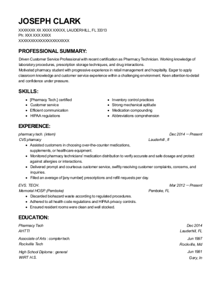 pharmacy tech resume example Florida