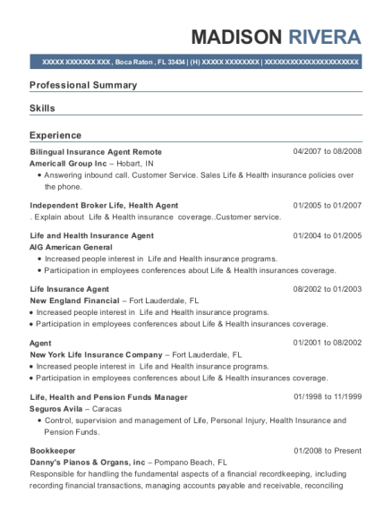 Bilingual Insurance Agent Remote resume template Florida