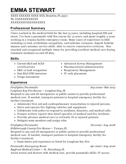Firefighter resume example Florida