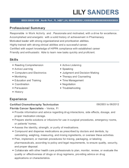 Certified Chemotheraphy Technication resume sample Florida
