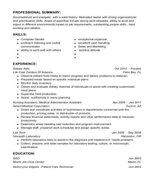 Dietary Aide resume format Florida