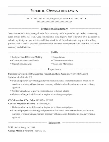 Coo resume template Florida