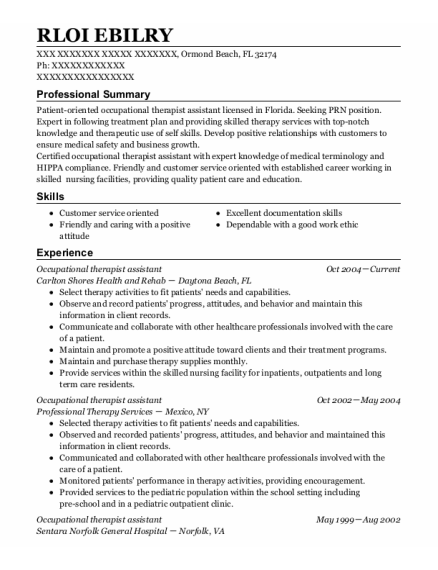 Occupational Therapist Assistant resume sample Florida