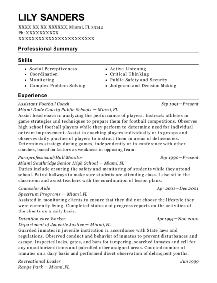 Assistant Football Coach resume example Florida