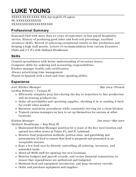 Asst Kitchen Manager resume example Florida